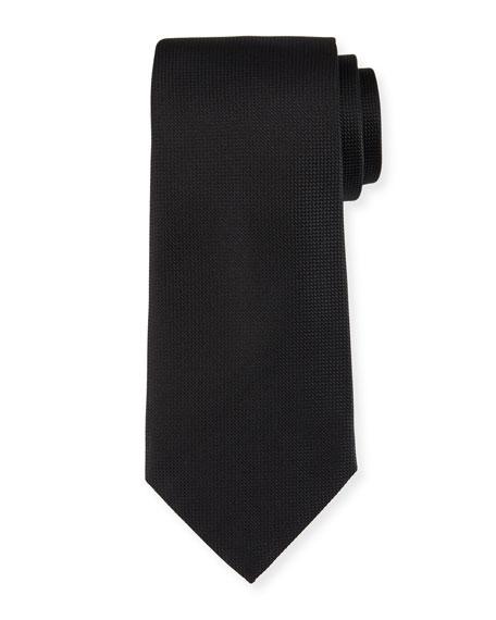 Micro-Diamond Textured Silk Tie, Black