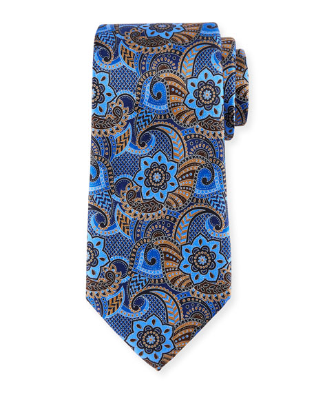 Printed Paisley Silk Tie, Brown