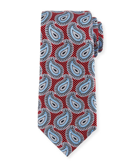 Large Paisley Pines Printed Silk Tie, Red