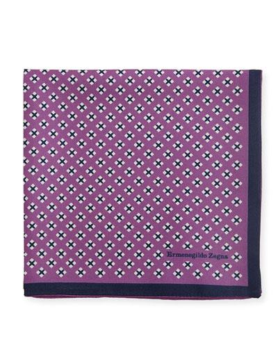 Geometric Cross Silk Pocket Square, Purple