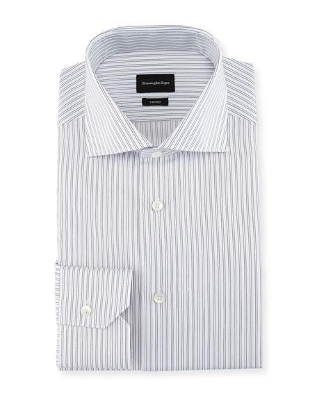Ermenegildo Zegna Trofeo® Twin-Stripe Dress Shirt, White/Blue