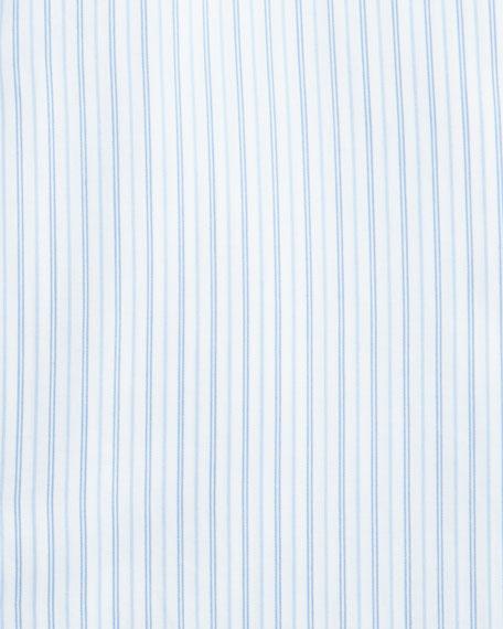 100Fili Striped Cotton Dress Shirt, White/Blue