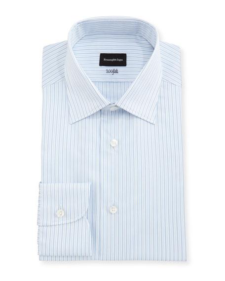 Ermenegildo Zegna 100Fili Striped Cotton Dress Shirt, White/Blue
