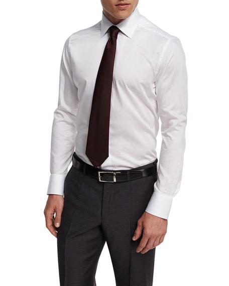 100Fili Solid Dress Shirt, White