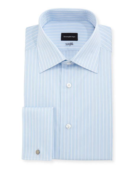 100Fili Striped Cotton Dress Shirt, Blue