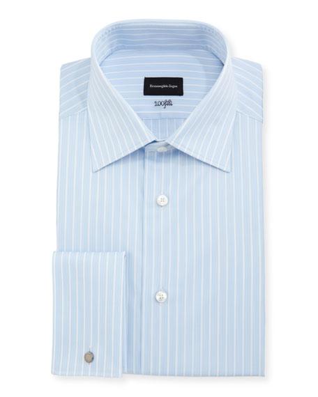 Ermenegildo Zegna 100Fili Striped Cotton Dress Shirt, Blue