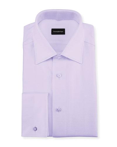 Twill Cotton French-Cuff Dress Shirt  Lavender (Purple)