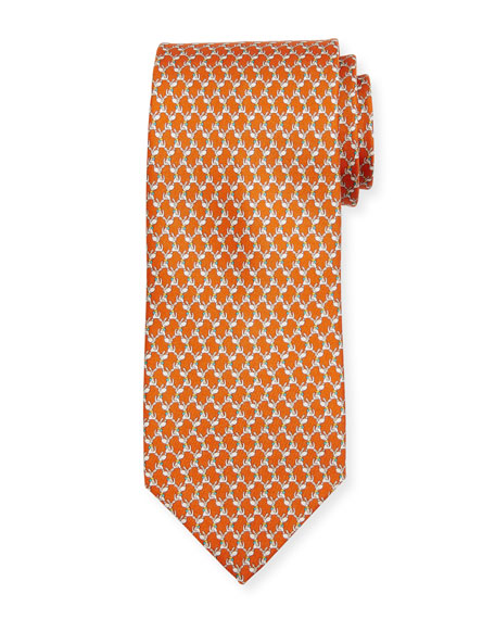 Salvatore Ferragamo Dog-Print Silk Twill Tie, Orange