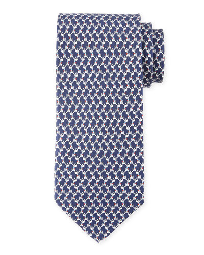 Dog-Print Silk Twill Tie, Blue