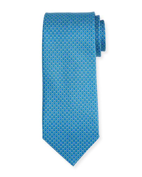 Salvatore Ferragamo Bicolor Gancio Silk Twill Tie, Blue