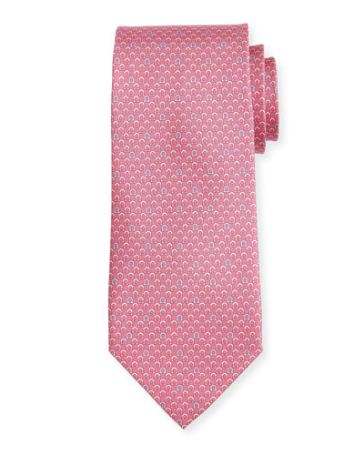 Bicolor Gancio Silk Twill Tie, Pink