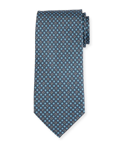 Floral Gancio Silk Twill Tie, Gray