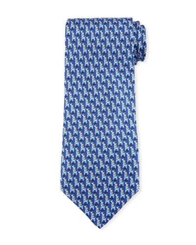 Penguin & Giraffe Silk Twill Tie, Blue