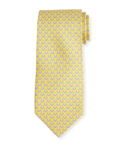 Teddy Bear Silk Twill Tie, Yellow
