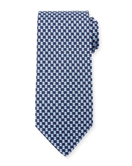 Salvatore Ferragamo Frog-Print Silk Twill Tie, Blue