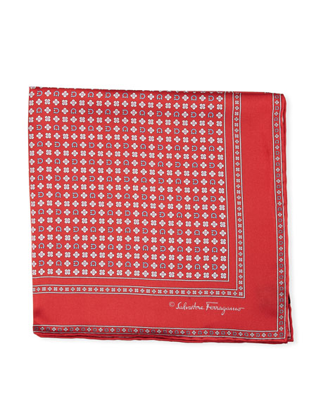 Floral Gancio Silk Twill Pocket Square, Red