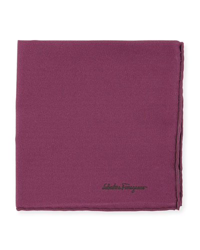 Solid Silk Twill Pocket Square, Purple