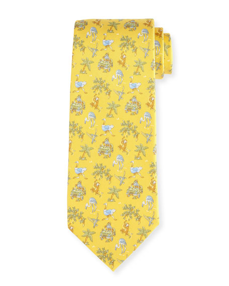 Jungle-Print Silk Twill Tie, Yellow
