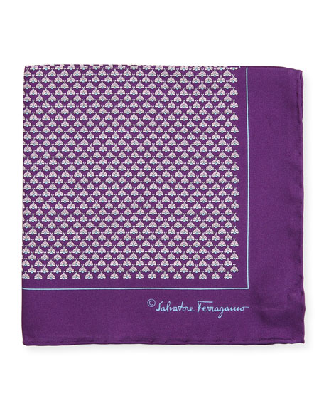Salvatore Ferragamo Diana Moth-Print Silk Pocket Square