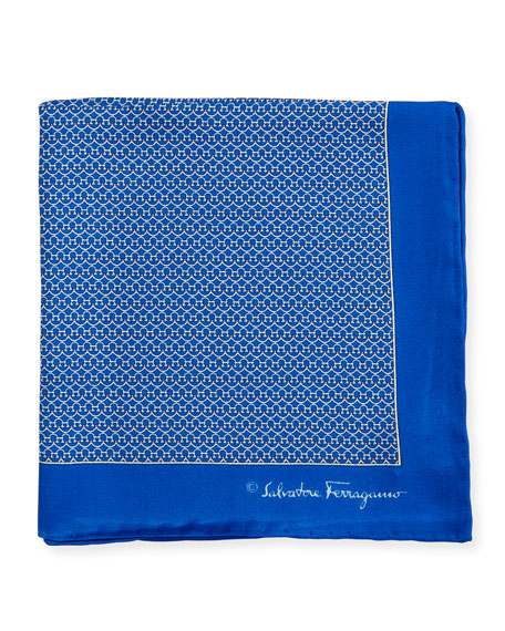 Party Gancini-Print Pocket Square, Blue