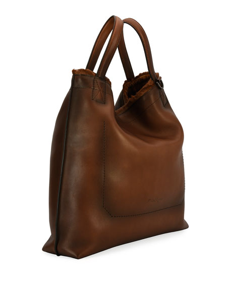 Firenze Glow Runway Men's Leather Tote Bag with Goat Hair Trim, Brown