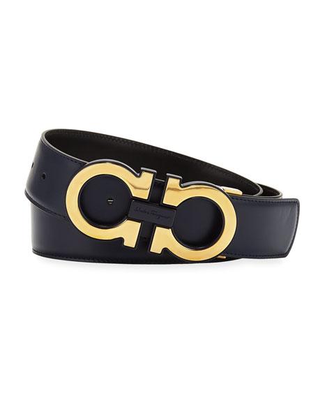 Oversized Gancini Leather Belt