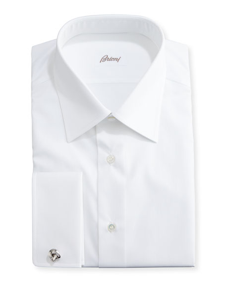 Brioni Tonal Micro-Stripe Dress Shirt, White