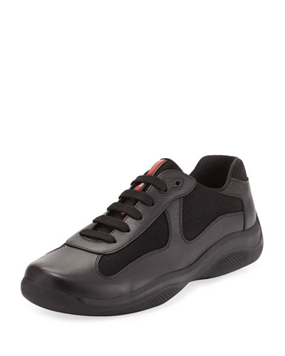 America's Cup Leather & Textile Trainer Sneaker, Black