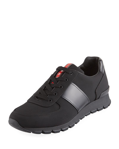 Men's Nylon & Leather Running Sneaker