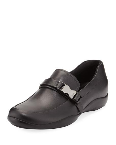 Leather Seat-Belt Loafer, Black