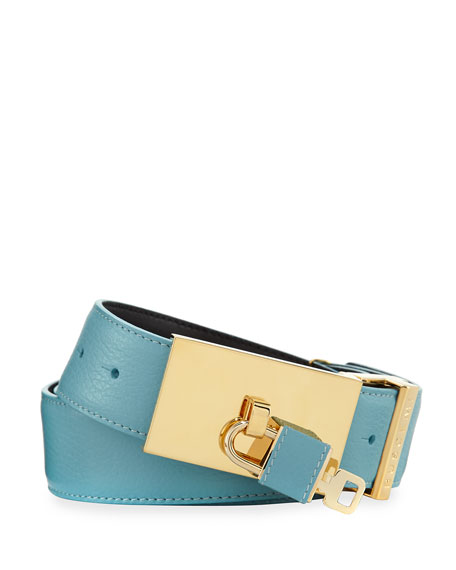 Buscemi 100mm Padlock-Buckle Leather Belt, Oxygen (Blue)