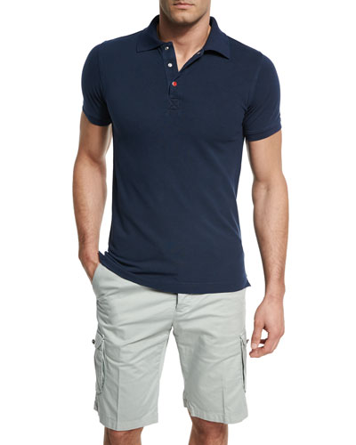Short-Sleeve Snap-Placket Pique Polo Shirt, Navy