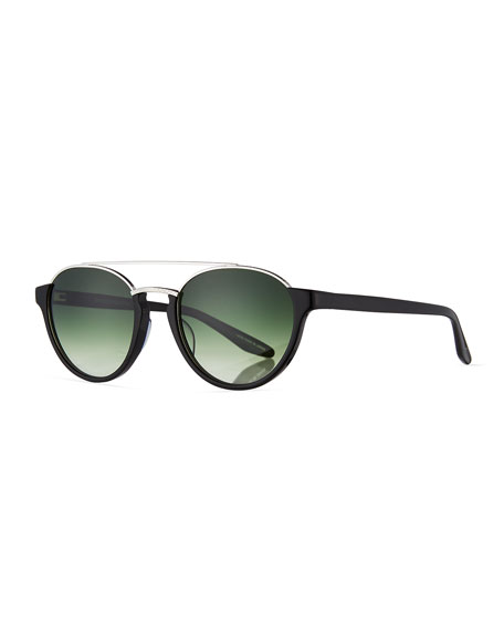 Barton Perreira Boleyn Half-Rim Acetate & Titanium Sunglasses, Black ...