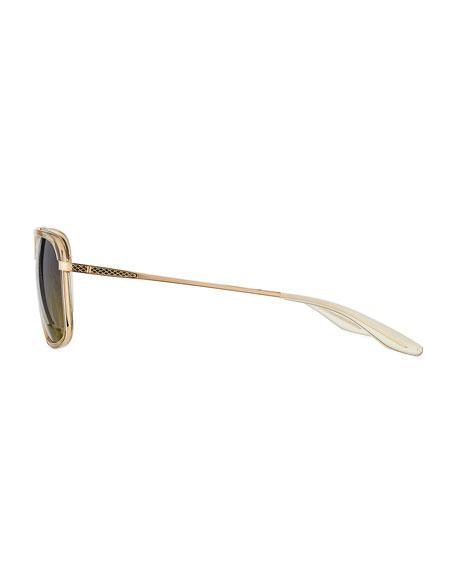 Magnate Acetate & Titanium Rectangular Aviator Polarized Sunglasses, Champagne/Gold