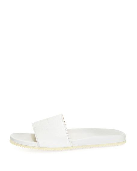 Men's Leather Slide Sandal, White
