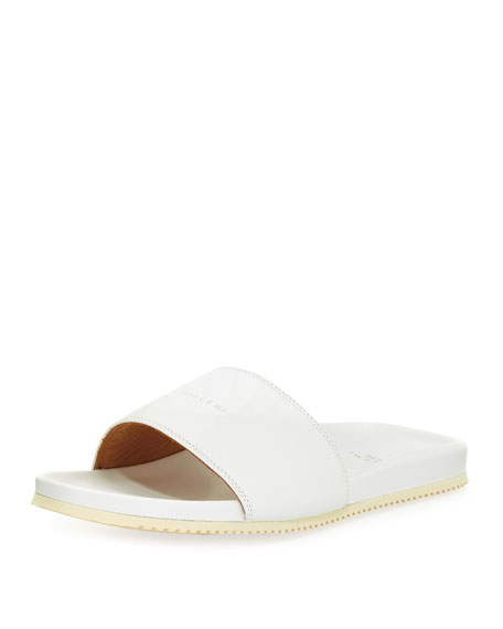 Men's Leather Slide Sandal, White