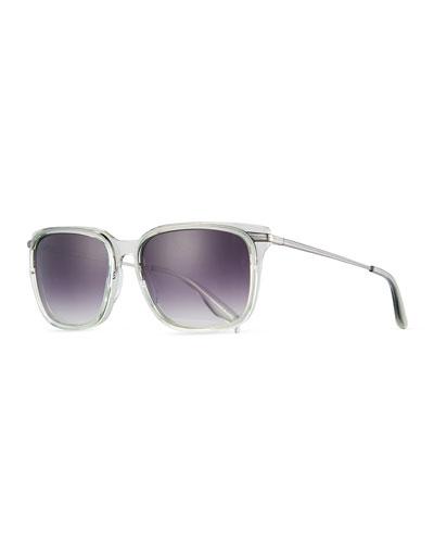 Prouvé Square Acetate Sunglasses, Absinthe/Pewter/Smolder