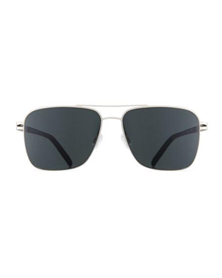 Men's Metal Aviator Sunglasses, Matte Silver/Matte Black/Gray