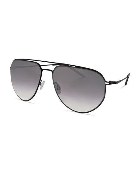 Men's B010 Mirrored Aviator Sunglasses, Matte Black/Silver Gradient