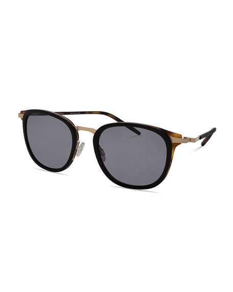 B030 Polarized Square Sunglasses, Black Tortoise/Brushed Gold/Gray