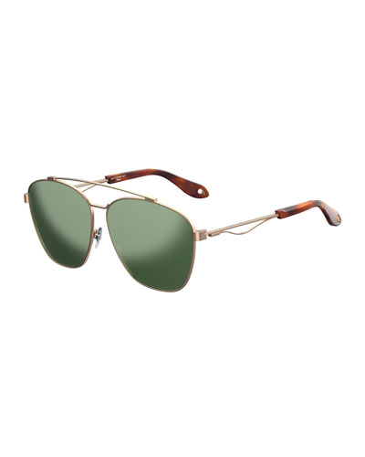 Men's GV 7049 Mirrored Square Aviator Sunglasses, Gold