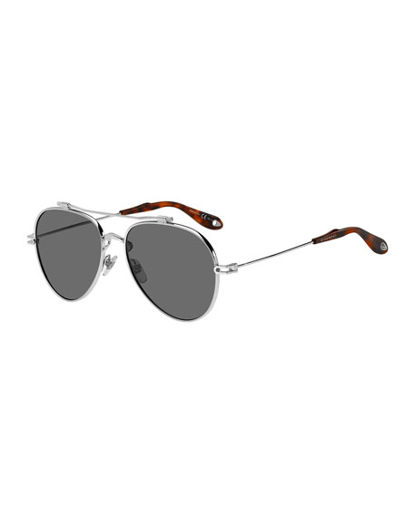 Givenchy Men's GV 7057 Aviator Sunglasses, Silver