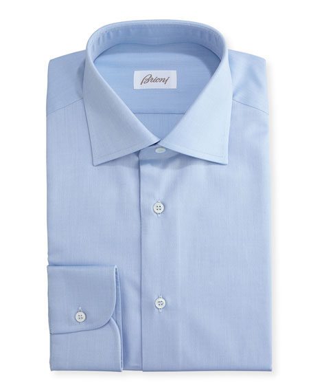 Brioni Textured Micro-Diamond Dress Shirt, Blue