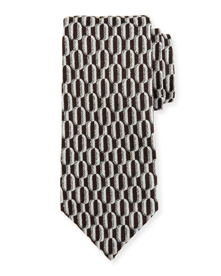 Isaia Chain-Link Woven Silk Tie