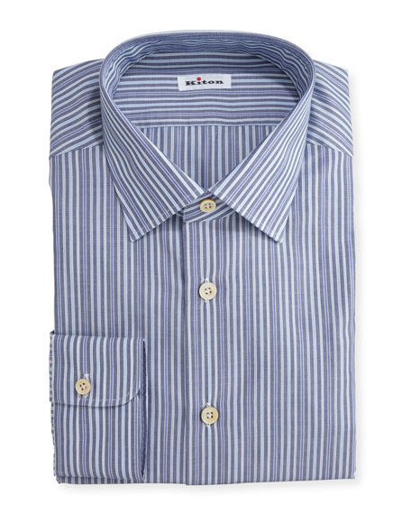 Alternating-Stripe Dress Shirt, Navy/Light Blue