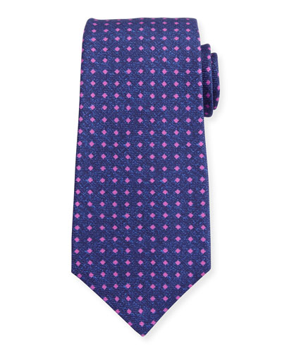Square Dot Silk Tie, Navy