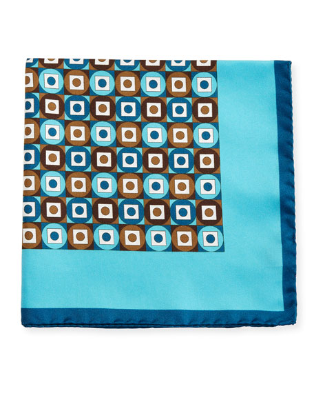 Kiton Geometric Printed Silk Pocket Square, Teal