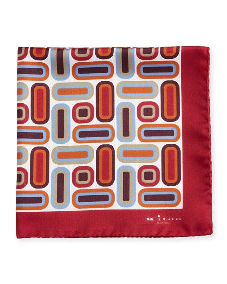 Kiton Rectangle & Square Printed Silk Pocket Square,