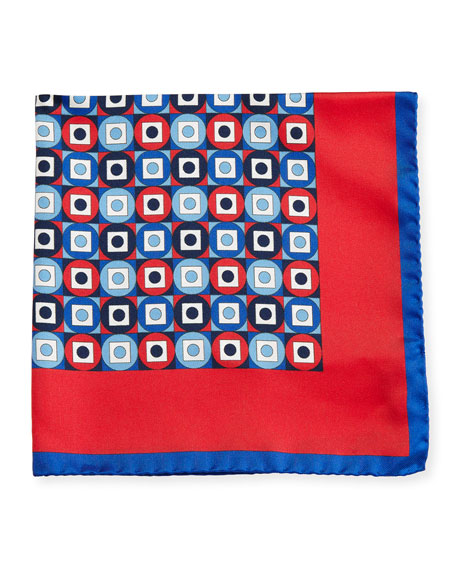 Geometric Printed Silk Pocket Square, Red