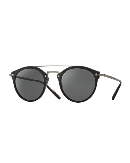 49c689561 Oliver Peoples Remick Mirrored Brow-Bar Sunglasses, Semi Matte  Black/Antique Pewter